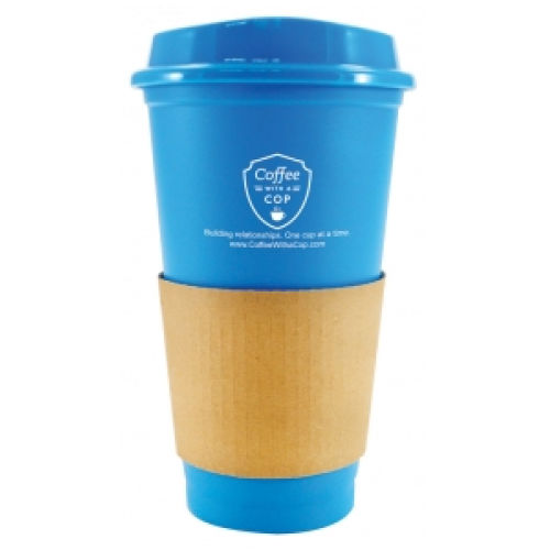 16oz Plastic Travel Mug with Lid and Paper Sleeve