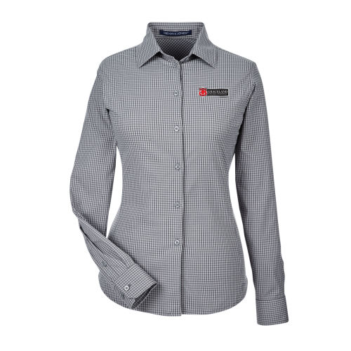 D&J CrownLux Performance™ Ladies' Tonal Mini Check Shirt