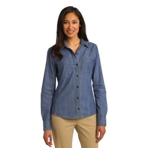 Ladies Patch Pocket Denim Shirt