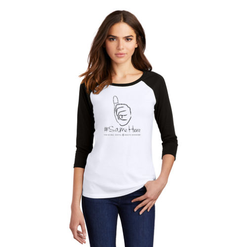 Women's 3/4-Sleeve Raglan - 1-Color #SameHere Hand Logo