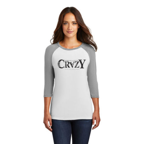 Women's 3/4-Sleeve Raglan - 'Crazy' Logo