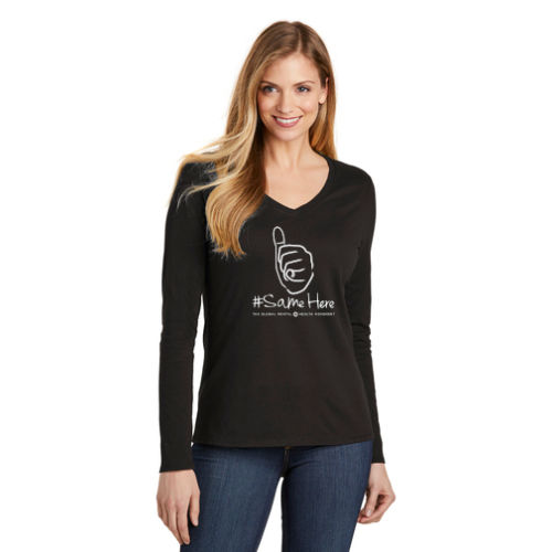 District Women's Long Sleeve - 1-Color #SameHere Hand Logo